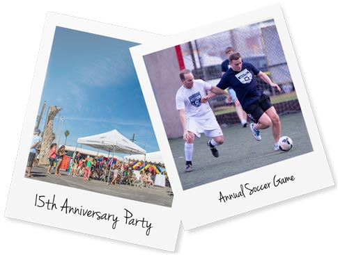 Photos of the 15th anniversary event and annual soccer game