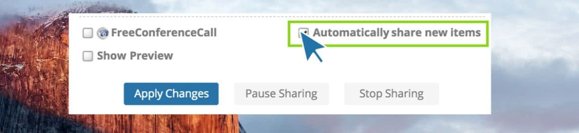 Automatically share new items