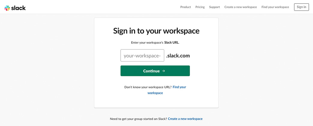 Slack Sign in