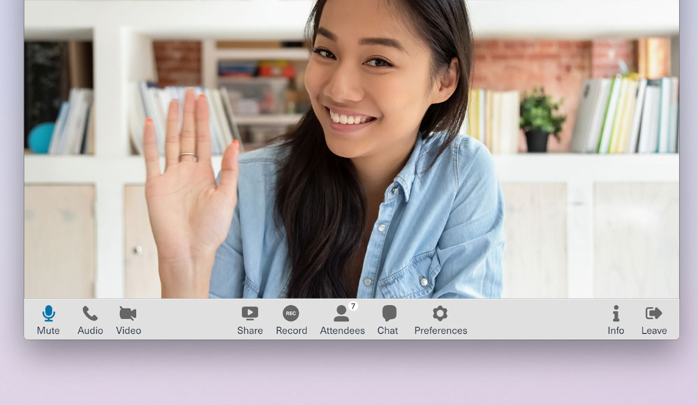 Close up of executable navigation bar with woman waving on laptop screen
