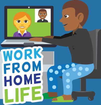 Work from home life Freemoji sticker with person video conferencing in pajama bottoms and slippers