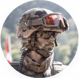 Army man in helmet and gear