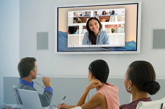 Office using video conferencing
