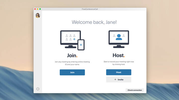 Screen shot of FreeConferenceCall.com desktop app join, host, or record a meeting pop up.