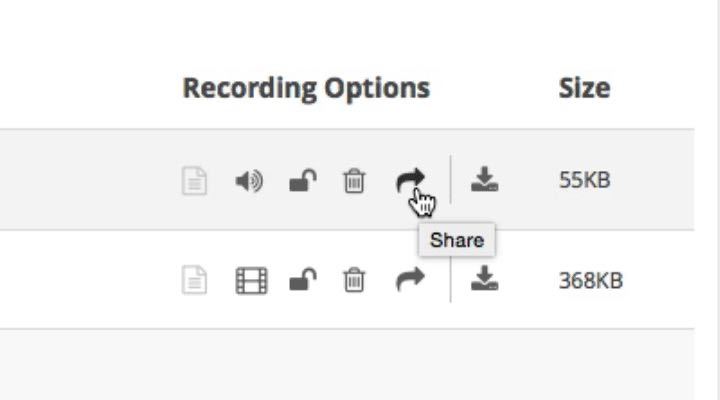 Screenshot of Recording Options icons with mouse hovering over share arrow icon.