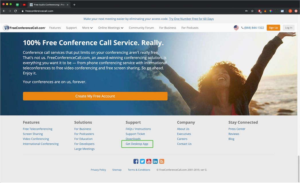 FreeConferenceCall.com get desktop app screen