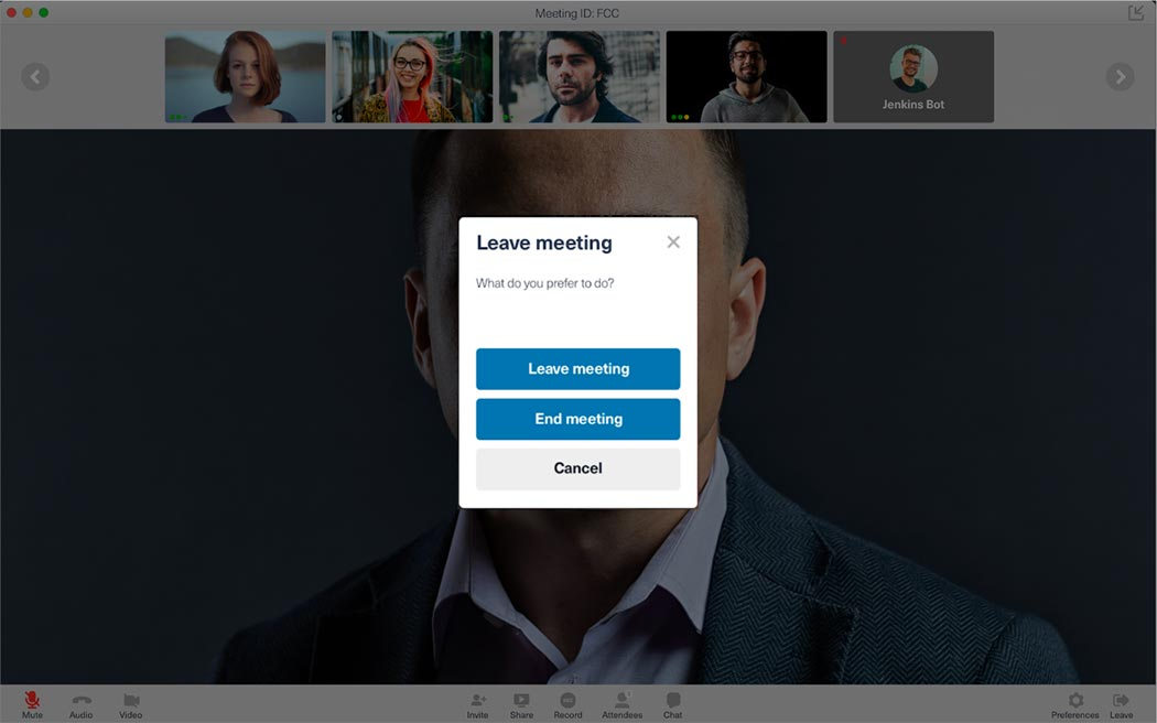FreeConferenceCall.com leave meeting screen