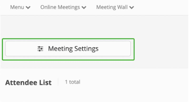 FreeConferenceCall.com meeting settings