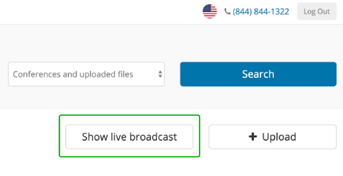 FreeConferenceCall.com show live broadcast button